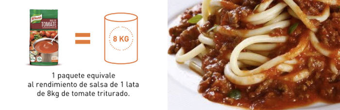 1 paquete equivale al rendimiento de salsa de 1 lata de 8 kg de tomate triturado.