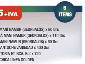 1 CONFITE DE MANI NAMUR (GEORGALOS) x 80 Grs + 1 GARRAPIÑADA MANI NAMUR (GEORGALOS) x 110 Grs + 1 TURRON DE MANI NAMUR (GEORGALOS) x 90 Grs + 1 PAN DULCE FANTOCHE VARIEDAD x 400 Grs + 1 SIDRA LA VICTORIA ET. BCA. Bot x 720 + 1 CAJA NAVID CHICA LINEA GOLDEN
