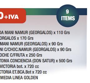 1 GARRAPIÑADA MANI NAMUR (GEORGALOS) x 110 Grs + 1 NUCREM GEORGALOS x 170 Grs + 1 TURRON DE MANI NAMUR (GEORGALOS) x 90 Grs + 1 TURRON MANI C/CHOC.NAMUR (GEORGALOS) x 90 Grs + 1 BUDIN FANTOCHE C/FRUTA x 250 Grs + 1 PAN DULCE TOMA CONCIENCIA (DON SATUR) x 500 Grs + 1 ANANA FIZZ VICTORIA bot. x 720 cc + 1 SIDRA LA VICTORIA ET.BCA.Bot x 720 cc + 1 CAJA NAVID MEDIA LINEA GOLDEN