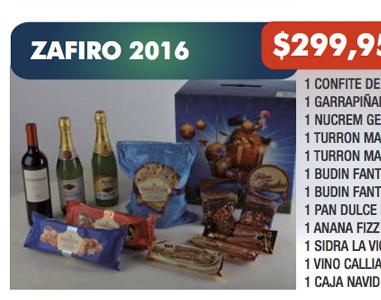 ZAFIRO 2016 / 12 ÍTEMS / $ 299,95 + IVA