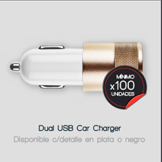 DUAL USB CAR CHARGER (disponible con detalle en plata o negro) --- mínimo x 100 unidades