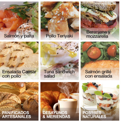 Salmón y Palta -- Pollo Teriyaki -- Berenjena y Mozzarella -- Ensalada Caesar con pollo -- Tuna Sandwich Salad -- Salmón grillé con ensalada -- Panificados artesanales -- Desayunos & Meriendas -- Postres Naturales