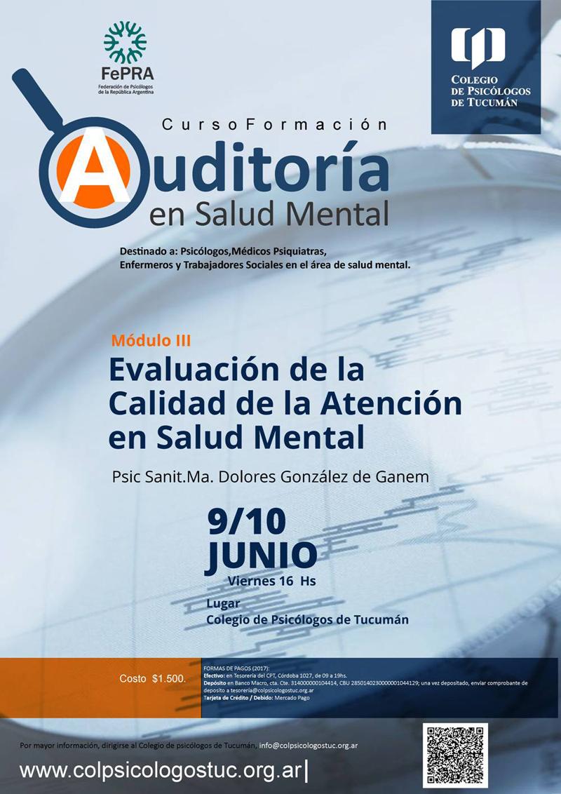 Curso Formación Auditoría en Salud Mental